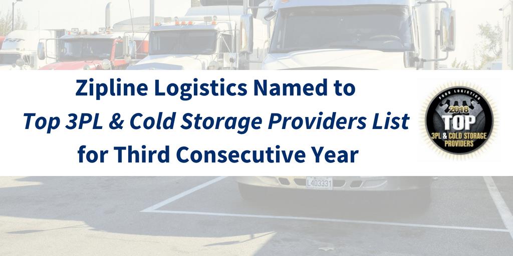 Zipline Logistics Named to Food Logistics' 2018 Top 3PL & Cold Storage Providers List